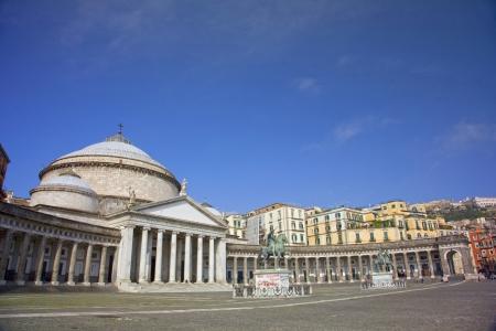 The Church of San Francesco di Paolo in the Piazza del Plebiscito which is the main square of the City of Napoli, Naples, Italy