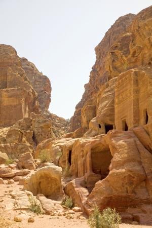 archaeology: Facades carved into the rock face, Petra, Jordan