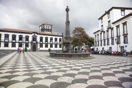 municipal: View of Municipal Square  Praca do Municipo  with the Town Hall  Camara Municipal , Funchal, Maderia  Stock Photo