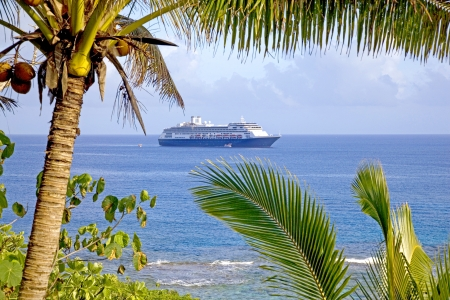 Cruise ship at anchor in the bay off the western coast of Niue  photo