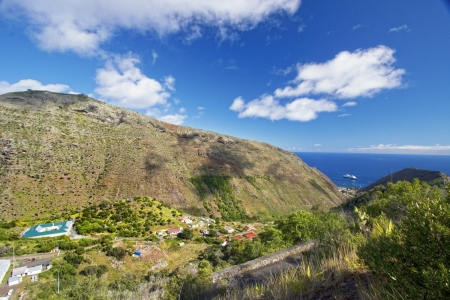 View across the countryside towards Jamestown   James Bay, St Helena  Stock Photo