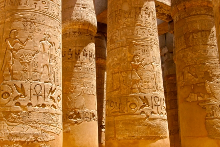 hieroglyphics: Close up of columns covered in hieroglyphics, Karnak, Egypt