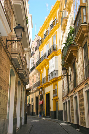 Typical street with traditioal architecture in Cadiz, Andalusia, southern Spain