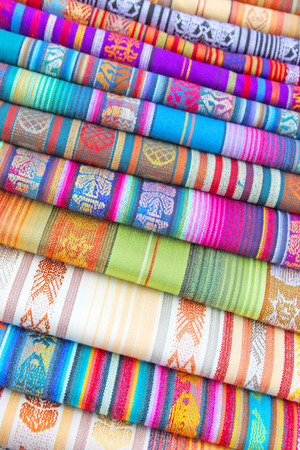 lima: South American hand made colourful fabric, Peru  Traditional patterns   design  Stock Photo