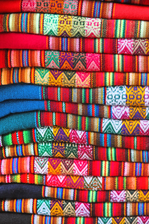 South American hand made colourful fabric, Peru  Traditional patterns   design  Stock Photo