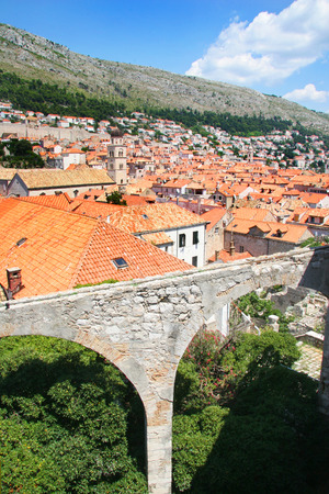 View from the city walls of the old town of Dubrovnik, Croatia  photo
