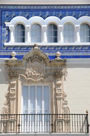 cadiz: Beautiful exterior of Casa Aramburu, Plaza San Antonio, Cádiz, Spain