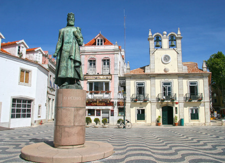 Cascais town square with a statue in the foreground, Cascais, Portugal