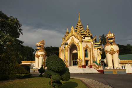 The entrance to the golden buddhist pagoda or stupa of Shwedagon Pagoda,Yangon, Myanmar.