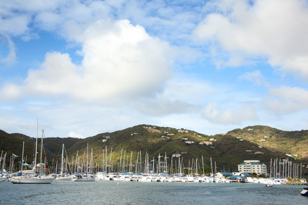 View towards the town, marina & landscape of Roadtown, Tortola, British Virgin Islands, Caribbean.