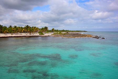 Coastline of Costa Maya near the village of Mahahual, next to the Cruise ship port, Quintana Roo, Mexico. Stock Photo