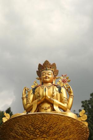 Golden statue of Buddha, Swayambhu Nath temple, Kathmandu, Nepal