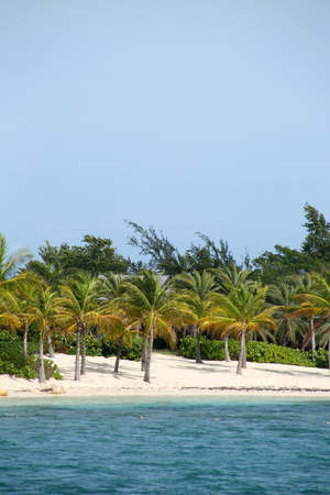 Beautiful tropical beach with turquiose sea & white sand on Green Island, Antigua, Caribbean. Vertical with copy space.