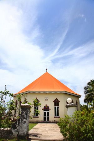 Papetoai Protestant Church in the town of Papetoai, island of Moorea, French Polynesia, South Pacific.