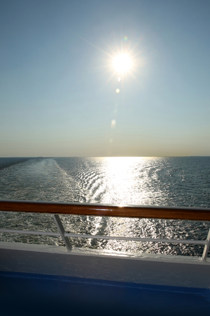 Sunset from the deck of a cruise ship, cruising the Baltic Sea.