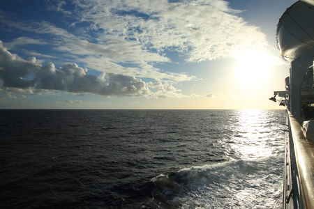 Cruise ship sailing across the ocean, Caribbean Sea.