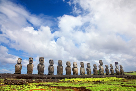 Fifteen moai standing at Ahu Tongariki, Easter Island, Chile.