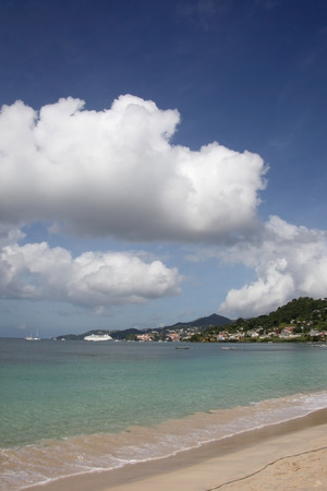 Beautiful Grand Anse beach with St Georges in the background, Grenada, Caribbean. Stock Photo