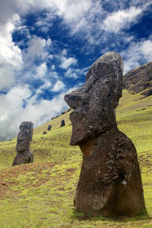 Moai on the hillside of Rano Raraku, which is where the quarry supplied the stone for the Moais to be carved, Easter Island, Chile.