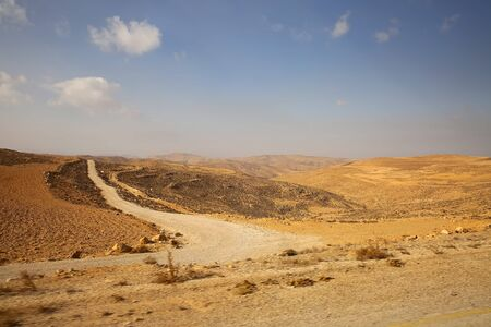 Views from King's Highway road & Wadi Musa, across the desert between Aqaba & Petra, Jordan.