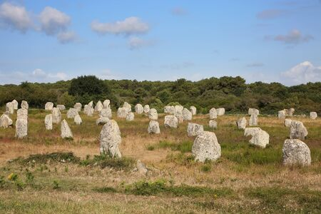 Thousands of prehistoric standing stones spread across three alignments at Carnac, Brittany, northwest France. Reklamní fotografie