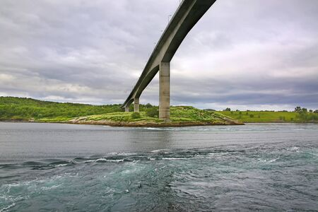 Bridge over the Saltstraumen Maelstrom - which is said to be the world's strongest tidal currents with whirlpools or Vortices , Bodo, Nordland county, Norway. Stock fotó