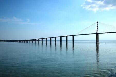 View of the Saint-Nazaire Bridge which is a cable-stayed bridge spanning the Loire River, linking Saint-Nazaire on the north bank and Saint-Brevin-les-Pins on the south bank, Loire-Atlantique, Pays de la Loire, France. 版權商用圖片