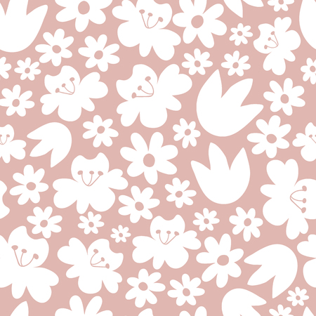 Seamless floral pattern. Pink background. Illustration