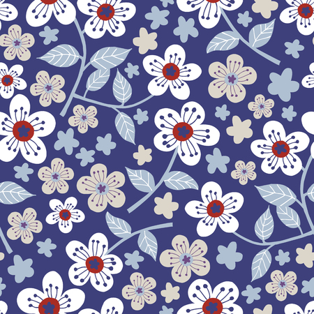 Seamless floral pattern. Blue background. Ilustracja