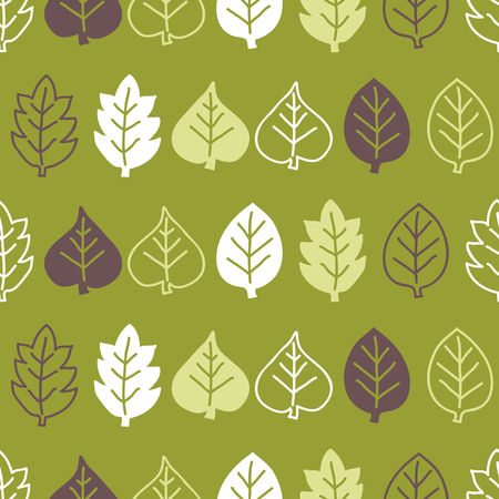 Seamless leaves pattern. Green background