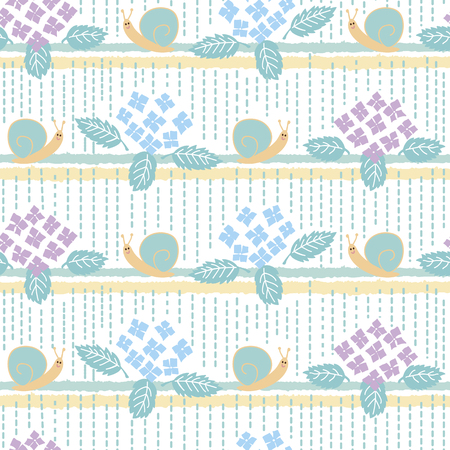 Seamless snail pattern. White background. Vector illustration.