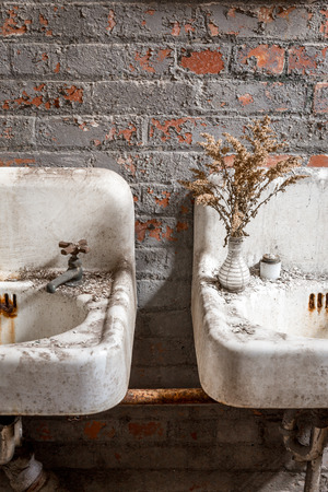 abandoned room: Vintage Sinks in an Abandoned Ladies Room