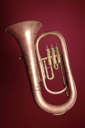 saxhorn: An old euphonium (from the tuba family). Stock Photo