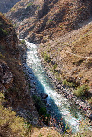 tien shan: Stream in the valley of the Tien Shan Stock Photo