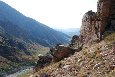 tien shan: The gorge in the Tien Shan mountains. Uzbekistan Stock Photo