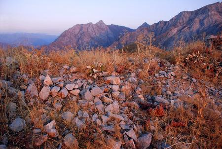 Pink sunset in the mountains of Uzbekistan Stock Photo