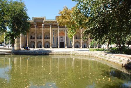 uzbekistan: View of the complex Bolo Hauz across the pond. Uzbekistan