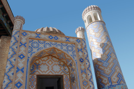 minaret: Detail of Mosque of Hazrat-Hyzr with a minaret. Samarkand.