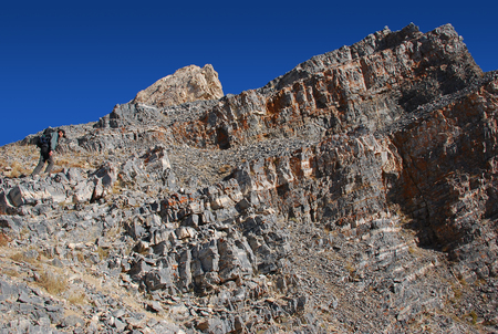 inaccessible: The top of the mountain in the Tien Shan Stock Photo