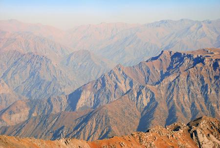 Perspective orange mountains in the Western Tien Shan. Uzbekistan