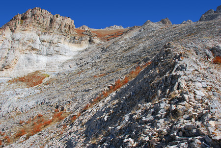 and hiking path: The top of the slope and the mountains of Tien Shan