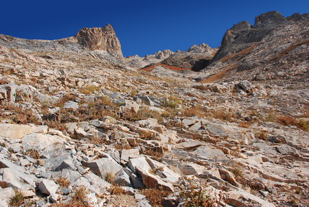Rocky slope - channel in the Tien Shan mountains