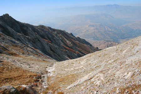 The trail and the panorama of the Tien Shan Mountains