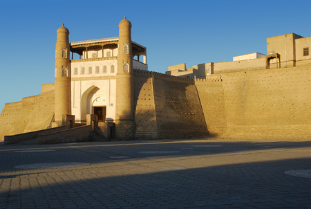 ark: Ark Fortress in Bukhara at sunset. Uzbekistan Editorial