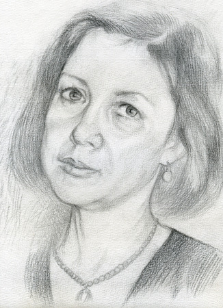 Black and white portrait of a woman with a pencil