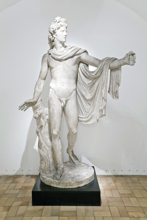 A copy of the statue of Apollo Belvedere from gypsum in the Torvaldsen Museum. Copenhagen Editorial