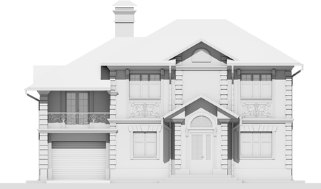 The main facade of the white cottage is symmetry. 3D rendering Stock Photo