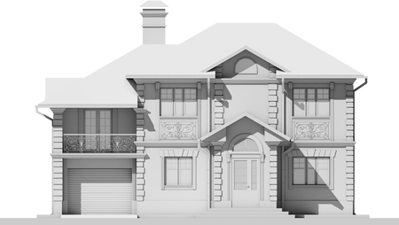 The main facade of the white cottage. 3D rendering