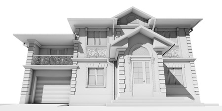 A view from below on the main facade of a white cottage. 3D rendering Stock Photo