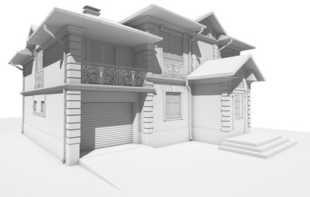 View from the side to the white cottage. 3D rendering